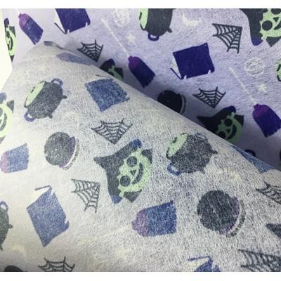 厂家批量生产儿童水刺印花无纺布 万圣节图案